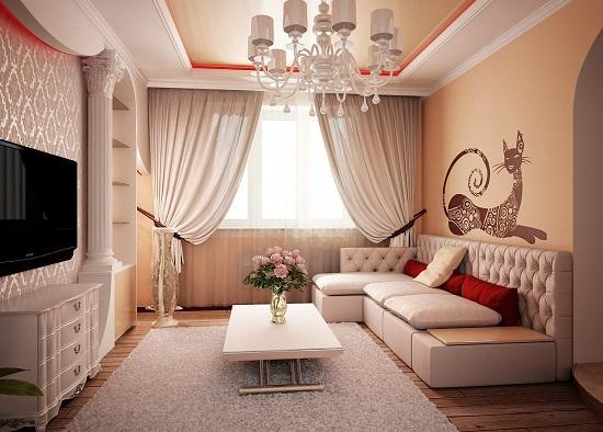 Роскошная гостиная для небольшого помещения