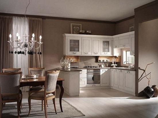 Элегантный интерьер кухни в пастельных тонах