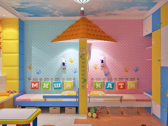 Идея дизайна детской комнаты разработана с разделением на зоны