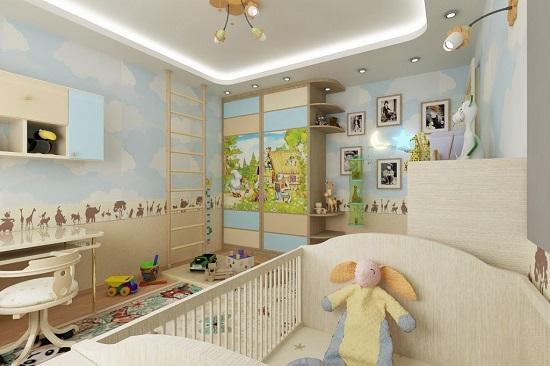 Идея дизайна детской комнаты создает воздушную атмосферу вокруг