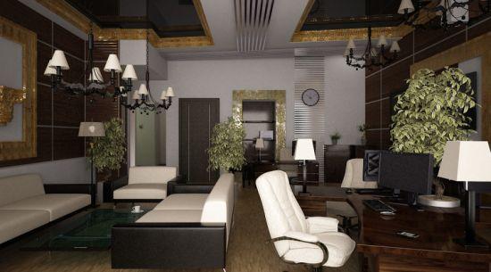 Идея дизайна уютного офиса в коричневых тонах