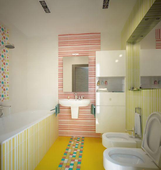 Идея дизайна интерьера ванной комнаты с использованием ярких оттенков
