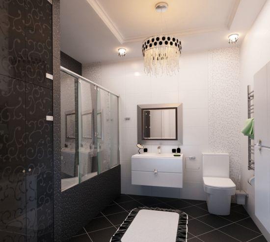 Идея дизайна ванной в черно-белом цвете