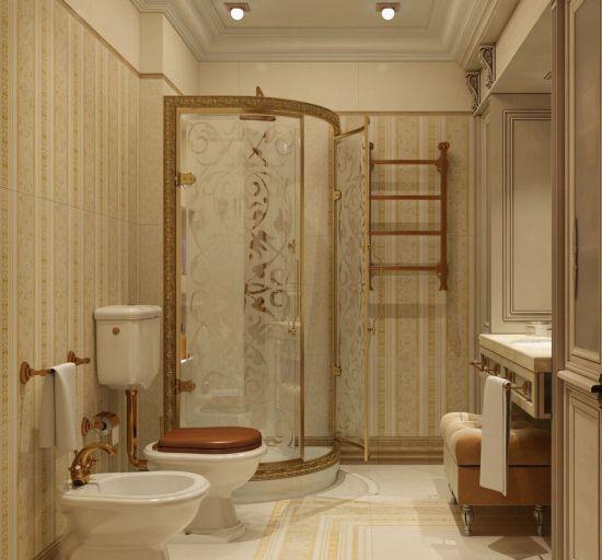 Идея дизайна ванной комнаты в бежево-золотистом цвете