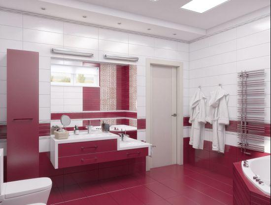 Идея дизайна ванной с использованием двух контрасных цветов