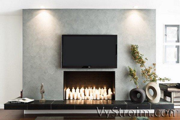 Имитация камина в интерьере квартиры