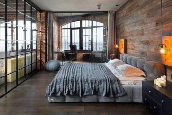 Спальня в стиле лофт.