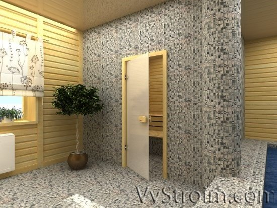 Двери в бане: стекляная дверь в парилку
