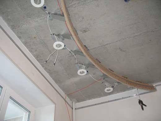 установка освещения под натяжной потолок