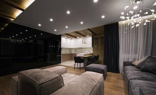 Современное освещение гостиной